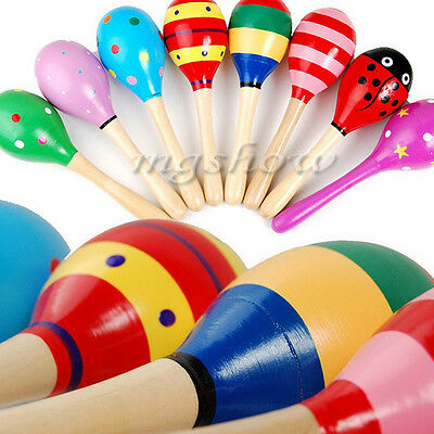 2 Wooden Maraca Wood Rattles Kids Musical Party Multi-coloured Xmas shaker Toy