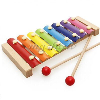 8 Note Metal  Kids Xylophone Musical Glockenspi  Instrument Wooden Colorful Toys