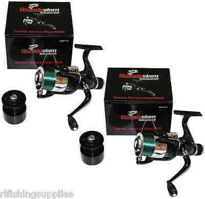 2 X Large Grandeslam Carbo 60 Fishing Reels With 12Lb Line Coarse Sea Pike Reels