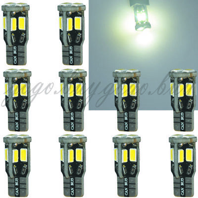10 x T10 10 SMD 5730 LED Pure White Super Bright Auto Car Light Bulb 194 168 W5W