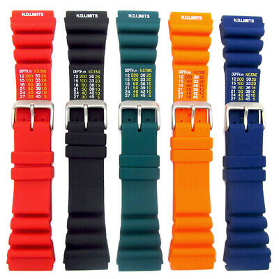 Tough Polyurethane SCUBA Divers Watch Strap ND Limits 20mm 22mm 4 Colours C038