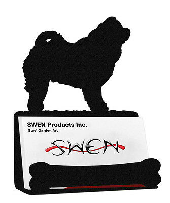 Chow Chow Dog Black Metal Business Card Holder