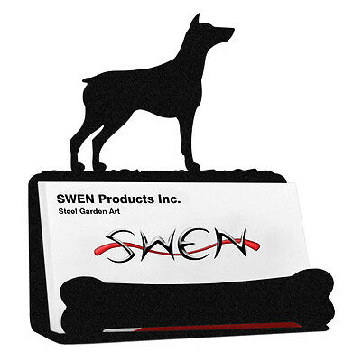 Doberman Pinscher Dog Black Metal Business Card Holder