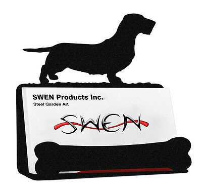 Wirehaired Dachshund Dog Black Metal Business Card Holder