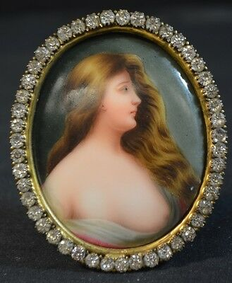 Antique Handpainted KPM Style Porcelain Plaque in Gold Plate Frame