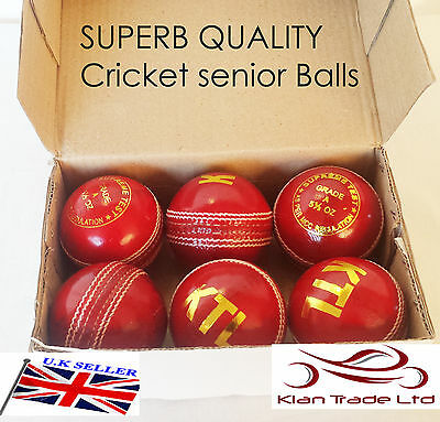 SENIOR MEN (5.5oz) Leather Cricket Ball /Cricket Hard Ball Training Ball Red