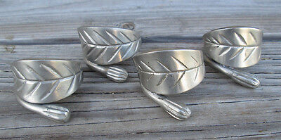 Vintage Metal Leaf Napkin Rings Pewter Silver tone Holiday Table Decor