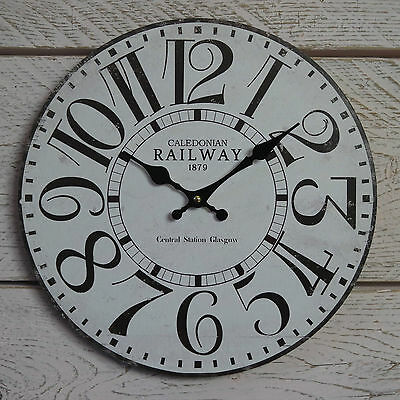 Shabby Rustic Round Wooden Wall Clock Antique White Caledonian Railway Glasgow
