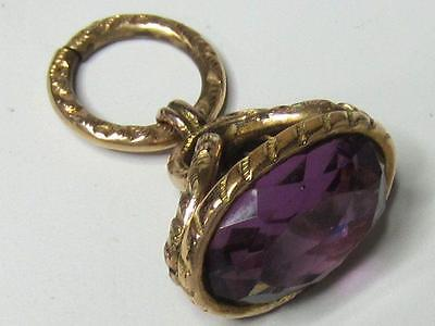Victorian Gold Filled Embossed Large Faceted Purple Glass Fob w/Original Ring