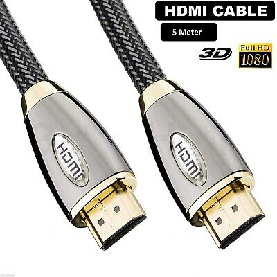 5 Meter Nylon HDMI Cable Lead WireHigh Speed 1080p v1.4  PS3 XBOX 3D LCD HDTV UK