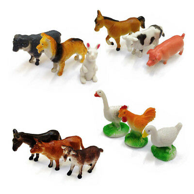 12 Plastic Farm Yard Figure Cow Pig Animals Childrens Toys Party Bag Model Set