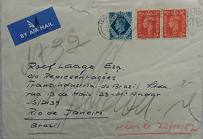Great Britain 1952 Cover Sent Airmail To Brazil