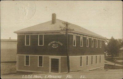 East Machias ME IOOF Elks Hall Victory Lodge #14 c1910 Real Photo Postcard