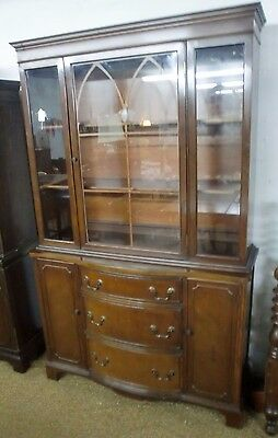 Vintage Mahogany Breakfront Curved Drawers China Cabinet Cupboard Hutch