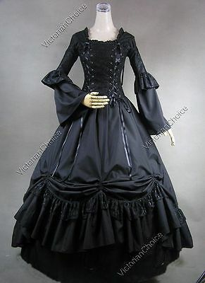 Renaissance Medieval Black Pirate Witch Dress Steampunk Halloween Costume 112