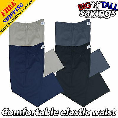 Big And Tall Men Plus Size Elastic Waist Work Pants Trousers 46 48 50 52 54 56