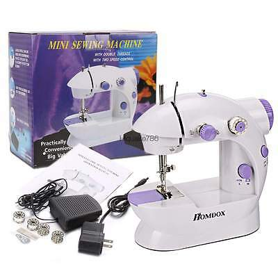 Mini Electric Sewing Machine Compact Twin Speed Portable Handheld Foot Pedal