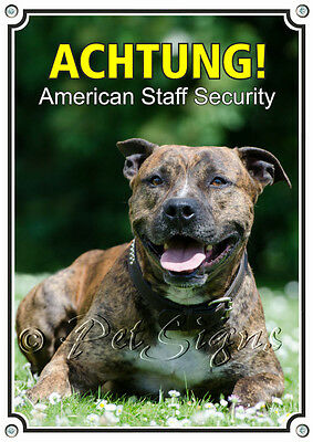 Hundeschild - American Staff Security - 1 A Metallschild