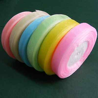 New Value Pack - Sheer Organza Ribbon PASTEL PACK 6x 50yds rolls 10mm or 15mm