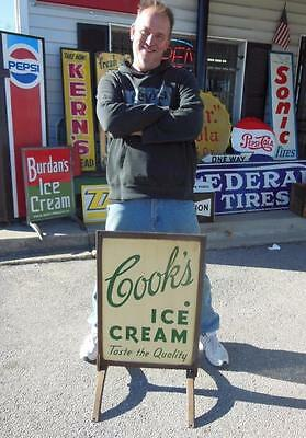 Original Cook's Ice Cream Double Sided Porcelain Curb Sign Soda Fountain 1950's
