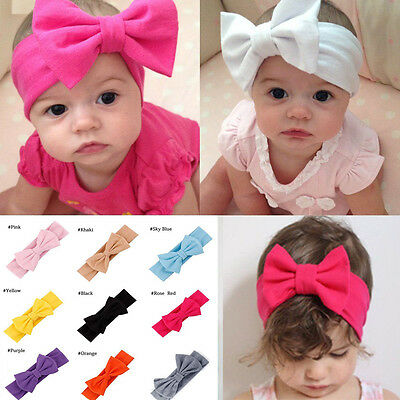 Toddler Girls Kids Baby Big Bow Headband Stretch Turban Knot Head Wraps Gifts