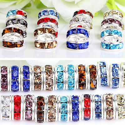 Wholesale 100X Crystal Rhinestone Wavy Silver Plated Rondelle Spacer Beads 6mm