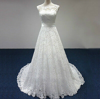 New ivory White Lace Wedding Dress Bridal Gown with Sash size 6 8 10 12 14 16 18