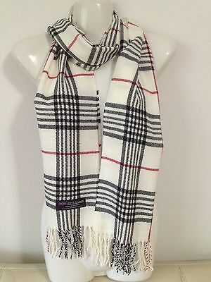 100% Cashmere Scarf Plaid Design White Made In Scotland Super Soft