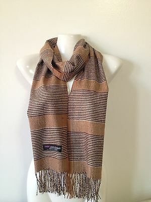 100% Cashmere Scarf Houndstooth Design1 Color Brown Made In Scotland Super Soft