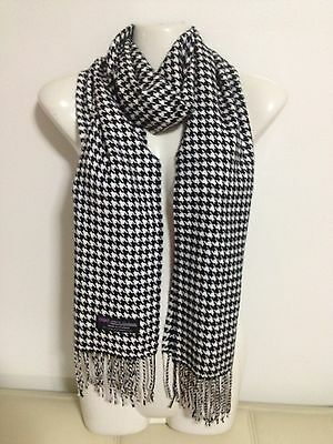 100% Cashmere Scarf Houndstooth Design Black White Made In Scotland Super Soft