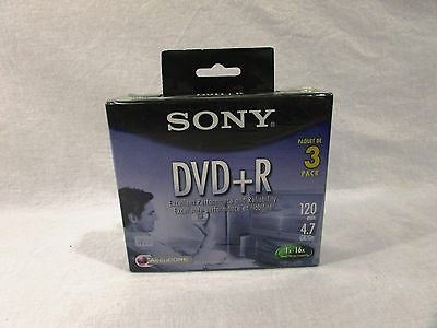 Sony DVD+R 3 Pack Recordable AccuCORE 3DPR47L4 120 Minutes 4.7GB