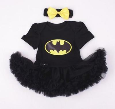 Super Hero Superman Supergirl Batgirl Fancy Dress Baby Girl Tutu Babygrow Romper