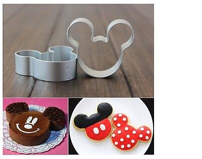 STAINLESS STEEL Mini MICKEY MOUSE Head 3pcs Set COOKIE / Food / Cheese CUTTER