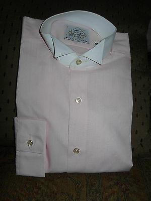 Men's TUXEDO DRESS SHIRT WITH Wing Tip Collar PINK & WHITE PROM WEDDING CRUISE