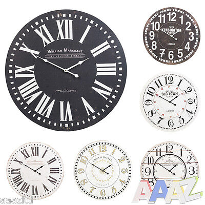 60cm Extra Large Round Wooden Wall Clock Vintage Retro Antique Chic Distressed
