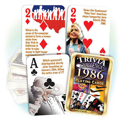 Flickback 1986 Trivia Playing Cards 31st Birthday or 31st Anniversary Gift