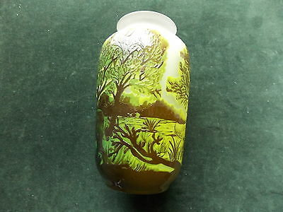 Galle art style glass green vase