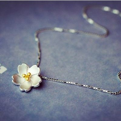 Cherry Blossoms Pendant 925 Sterling Silver Chain Necklace Women Jewellery gifts