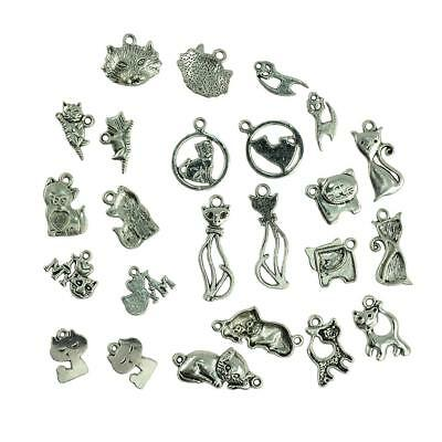 20 Antique Silver Mixed Style Cats Pendants Charms Jewelry Craft Findings
