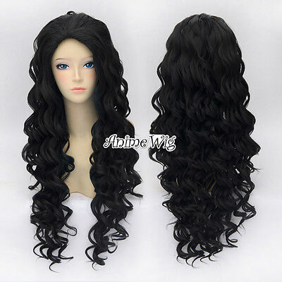 Long Spiral Curly 80CM Black Lolita Fashion Party Stylish Cosplay Wig + Wig Cap