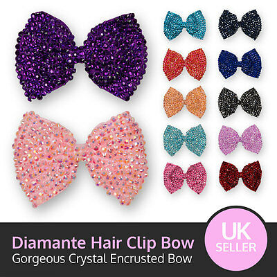 Large Crystal Bow Sparking Diamante Encrusted Hair Clip Grip