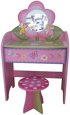 Kids Dressing Table Stool Childrens Dressing Table Fairy Furniture Wooden Pink