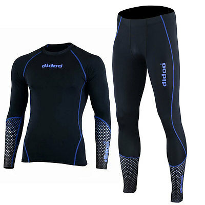 Didoo Boys Compression Armour Base Layer Tight Sports Suit Jersey + Leggings Set