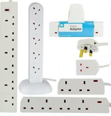 Surge Protected Extension Lead Uk Plug Tower Adaptor Cable Multi Socket Light