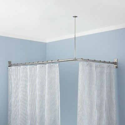 Naiture Brass Corner Shower Curtain Rod In 8 Sizes and 5 Finishes