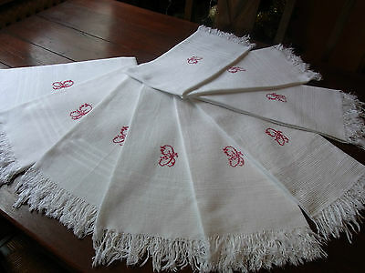 "Lot 9 Serviettes toilette anciennes ""nid d'abeille"" coton Monogramme ""C"" Towels"