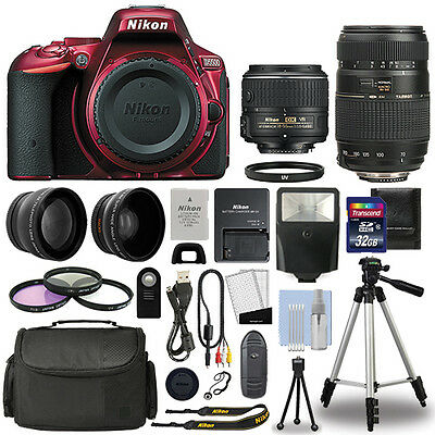 Nikon D5500 Digital SLR Camera Red + 4 Lens Kit 18-55mm VR + 70-300mm + 32GB Kit