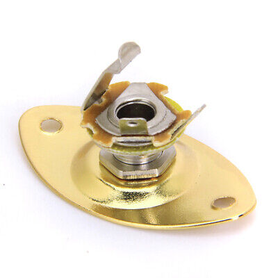 Gold Oval Output Jack Plate & Socket for Electric Guitar New