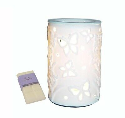 White Ceramic Butterfly Electric Oil Burner Lamp  FREE wax & globe