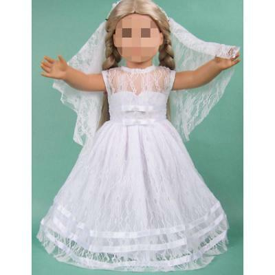 "Handmade Embroidered Wedding Dress+Veil Doll Clothes for 18"" American Girl"